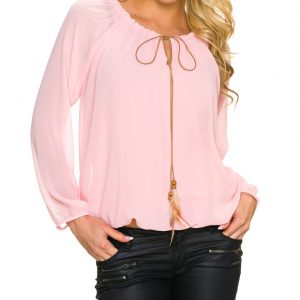 haut tunique chemise chemisier glamour rose blouse top col rond voile