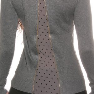 Pull femmeSexy nouvelle collection cappuccino voile pois gris koucla
