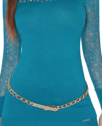 long pull vert turquoise fashion femme nouvelle collection koucla