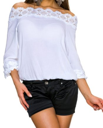top blanc decolleté tee shirt blouse
