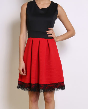 robe patineuse casual ville chic rouge elegante femme