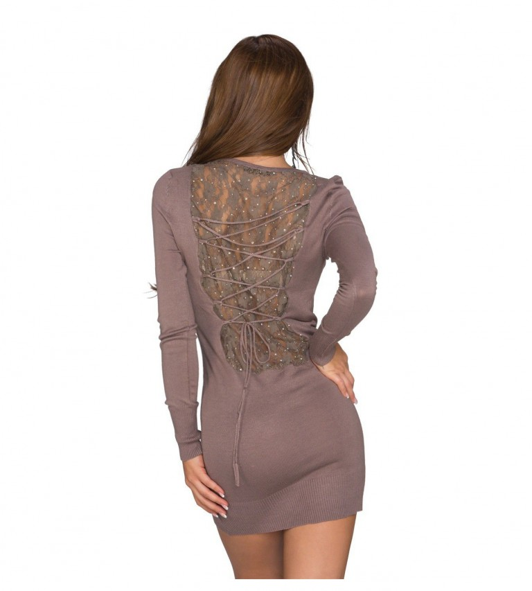 Robe long pull marron dos lacets