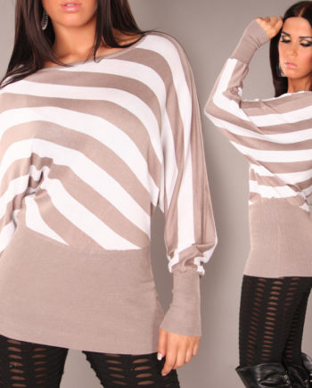 pull over rayures marron blanc manches longues cintré taille manche large reseré