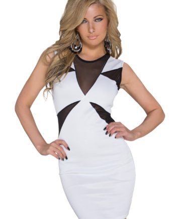 74872b1ef7f robe droite moulante glamour noire voile blanc taille 38 95% polyester 5%  élasthane