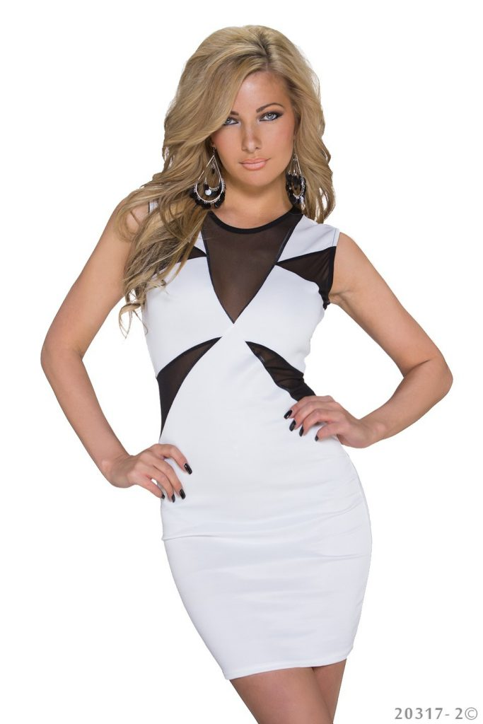 robe droite moulante glamour noire voile blanc taille 38 95% polyester 5% élasthane
