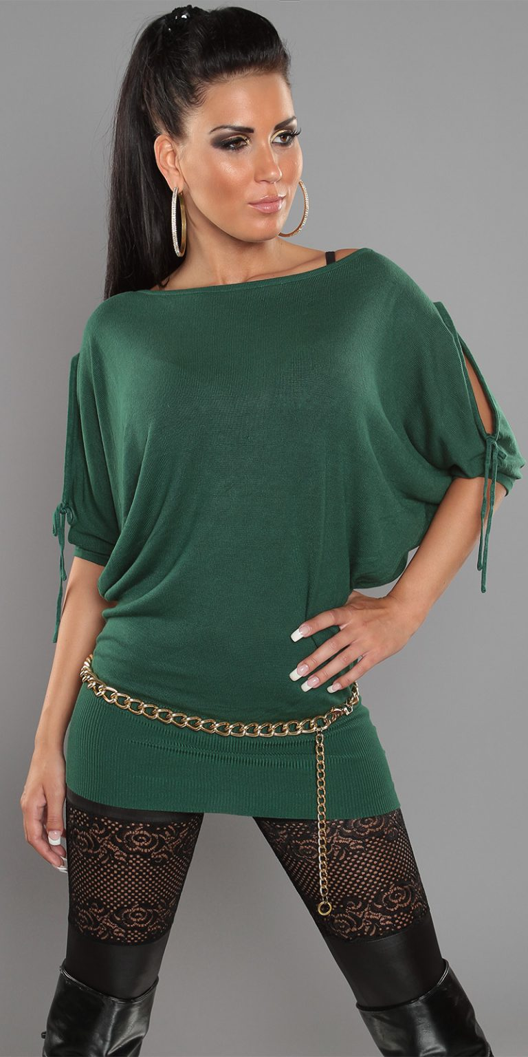 pull over vert manches courtes ouvertes col rond
