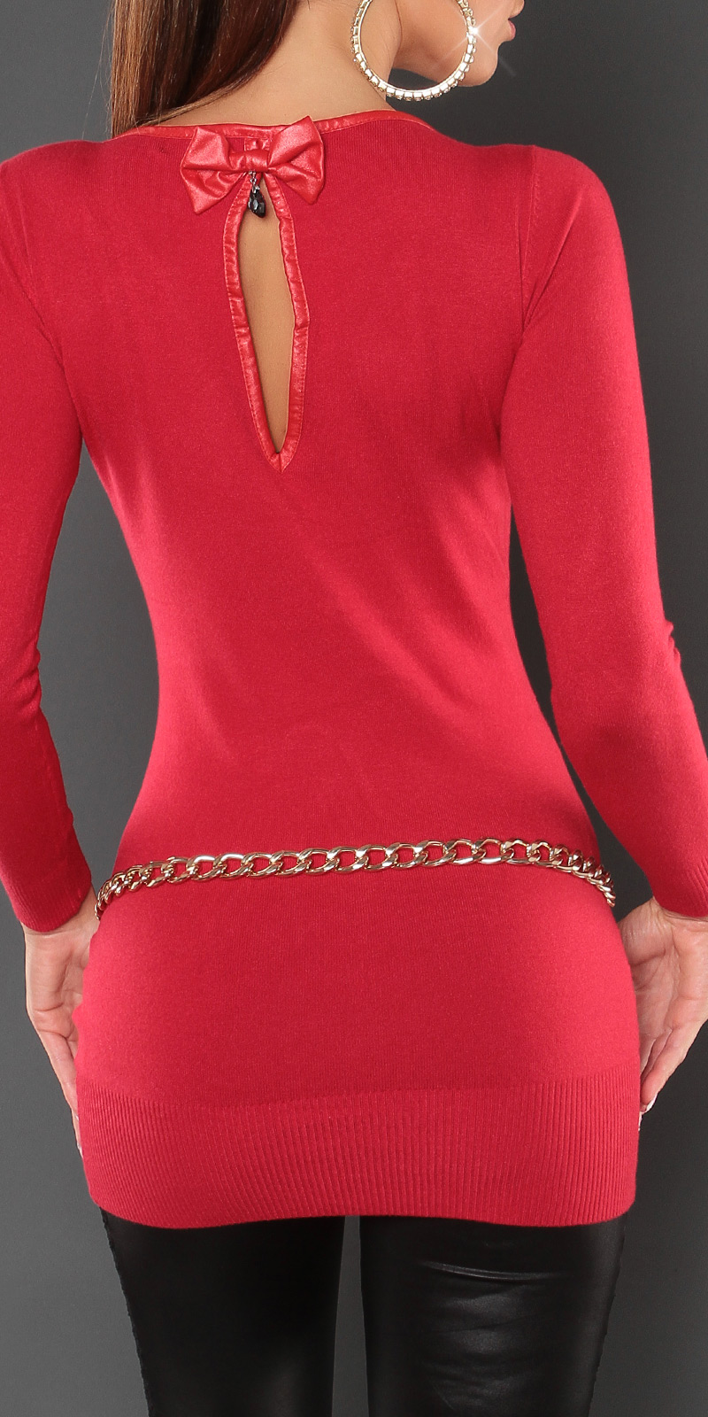 long pull corail rouge dos ouvert nouvelle collection femme