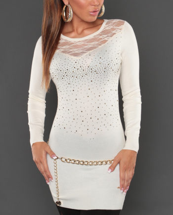 pull long dos dentelle voile creme col rond koucla