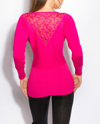 pull fuschia broderie dentelle dos manches longues nouvelle collection koucla