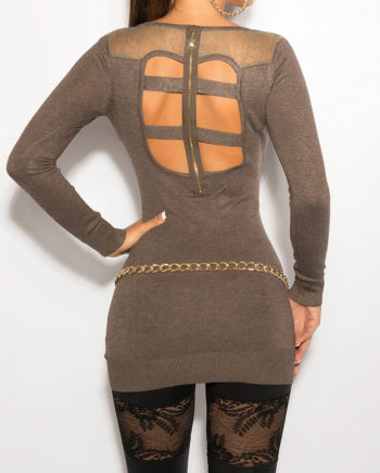 pull long marron dos ouvert voile sexy fashion femme nouvelle collection