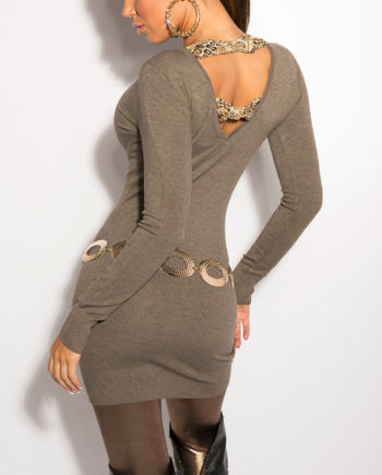 pull long marron dos v manches longues nouvelle collection