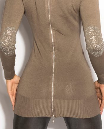 pull long marron dos v manches longues nouvelle collection koucla