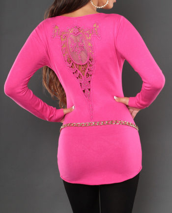 pull fuschia broderie dentelle dos manches longues nouvelle collection S/M