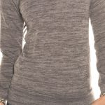 pull court marron chiné col retombant manche longue nouvelle collection koucla