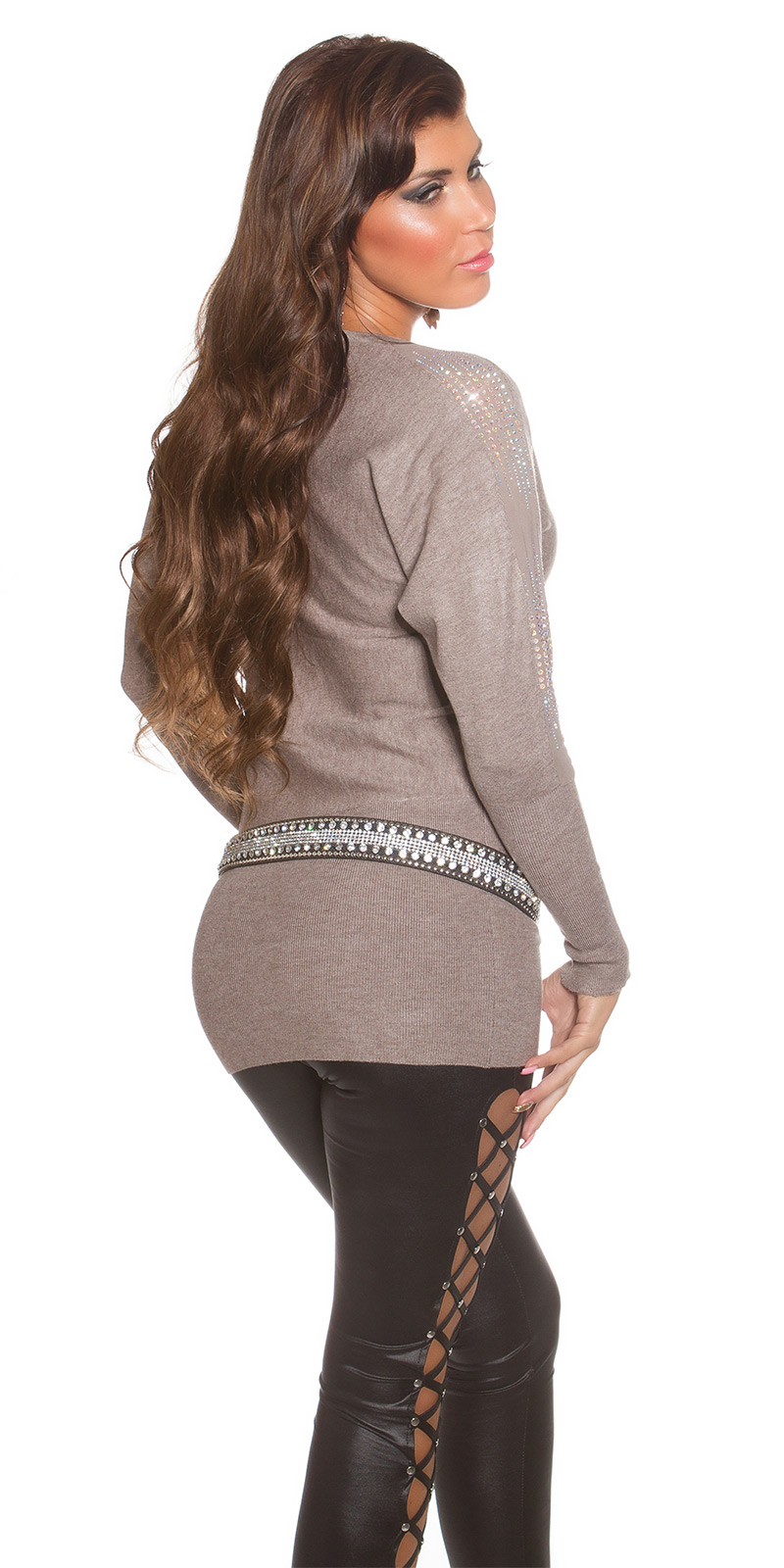pull long pull marron clair col rond scintillant bras femme koucla