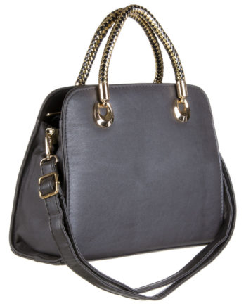 Sac a main , besace shopping grise jerry leather collection
