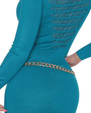 pull col arrondi vert turquoise dos ajourée voile fashion sexy femme