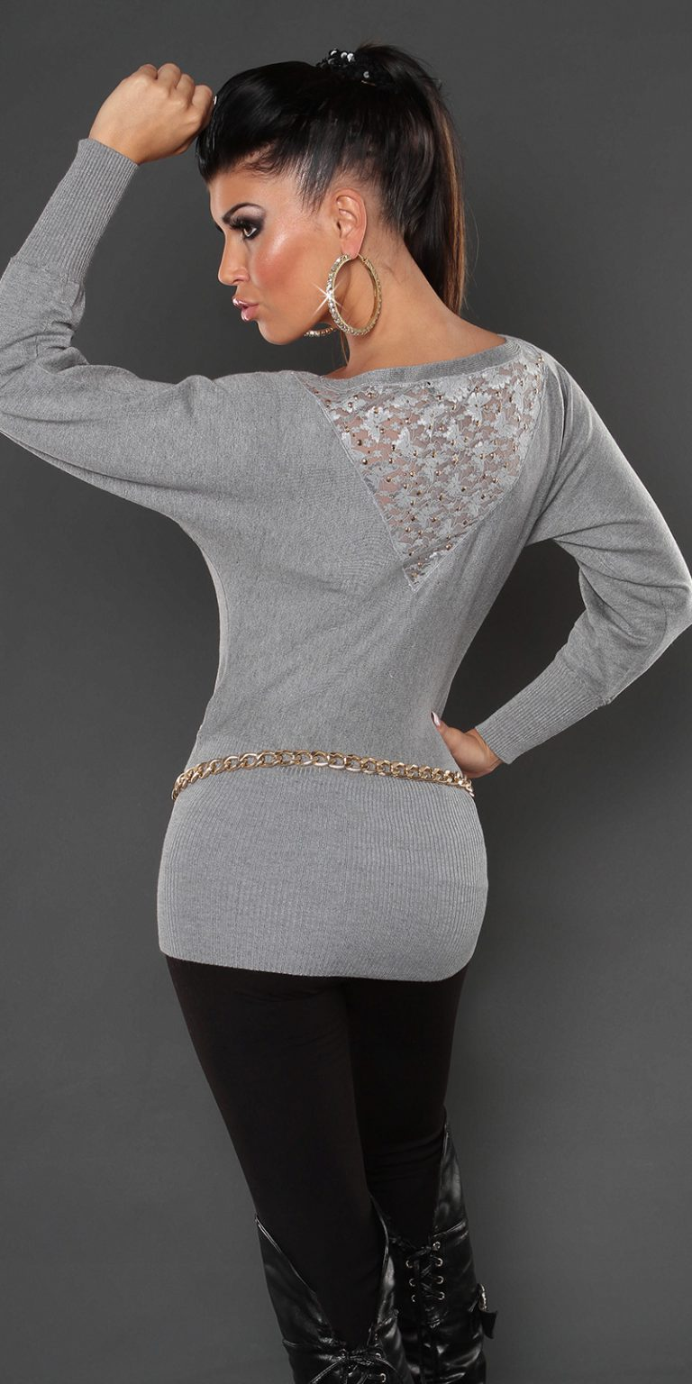 pull court gris clair dos dentelle manches larges koucla sexy femme