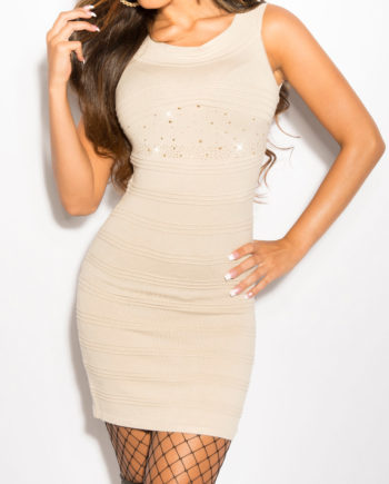 robe pull beige manches courtes rivets