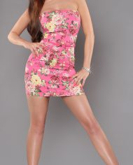 aaBandeau-minidress_with_flower-print_and_belt__Color_FUCHSIA_Size_38_0000ISF-LMR039_PINK_1_1