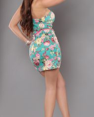 robe bustier fleurie   taille 38   95% viscose 5% élasthane