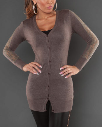 cardigan gilet long taupe marron nouvelle collection femme koucla