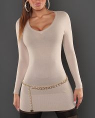 pull beige col v femme sexy manches longues dos motifs