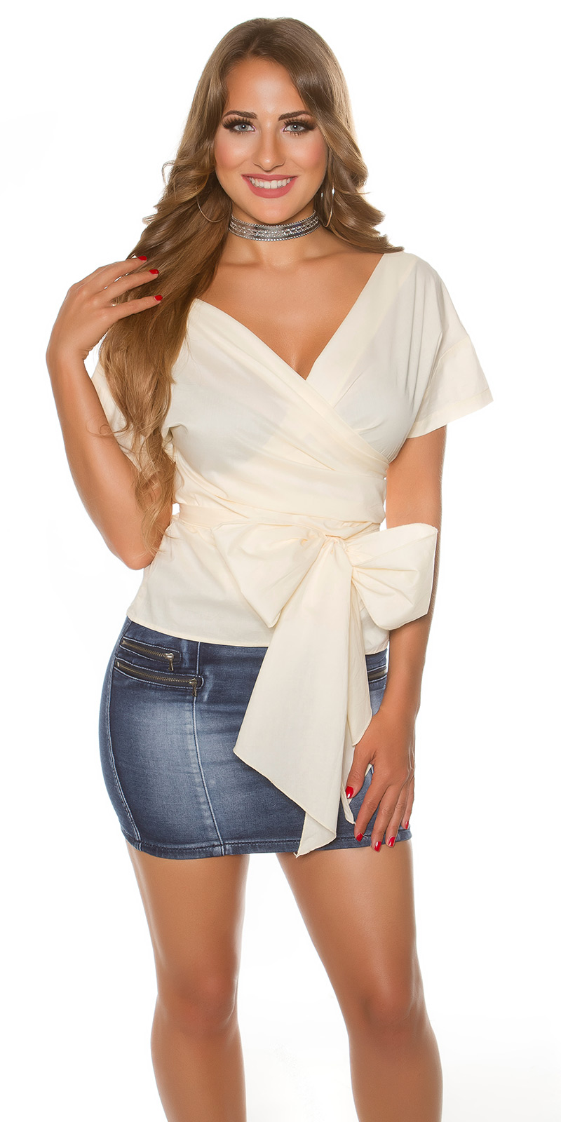Sexy Blouse Top Chemise Beige Femme Tee Tunique Shirt 92IWDHE