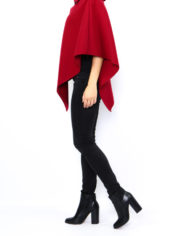 poncho court col montant rouge nouvelle collection made italie