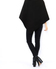poncho court col montant noir nouvelle collection made italie