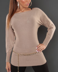 pull marron clair dos broderie manches longues