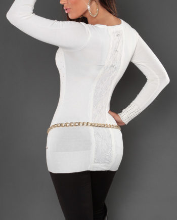 pull blanc col v dos dentelle rivets collection koucla