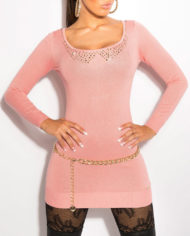 pull long rose abricot dos ouvert voile sexy fashion femme