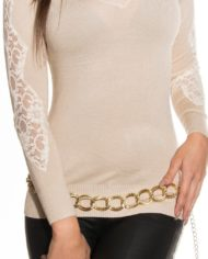 pull beige court koucla nouvelle collection marron dos dentelle broderie
