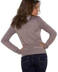 pull marron dessin broderie pull court manches longues