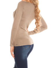 pull court col v marron nouvelle collection