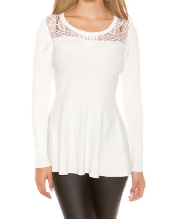 pull blanc col arrondi dentelle strass collection koucla
