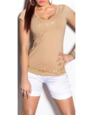 top tee shirt koucla marron dos ajouré fashion femme