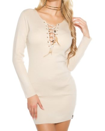 robe beige col rong courte lacets encolure sexy femme collection koucla