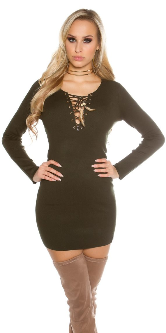 robe kaki col rong courte lacets encolure sexy femme collection koucla