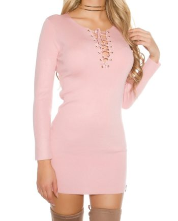robe court pull rose col v attache chaine doré
