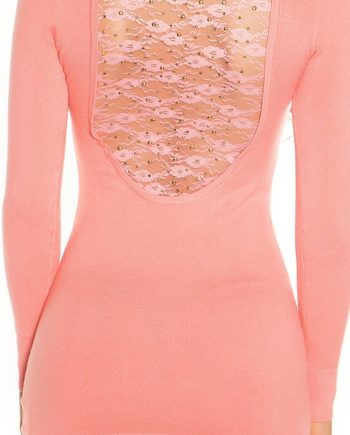 pull corail orange dos dentelle