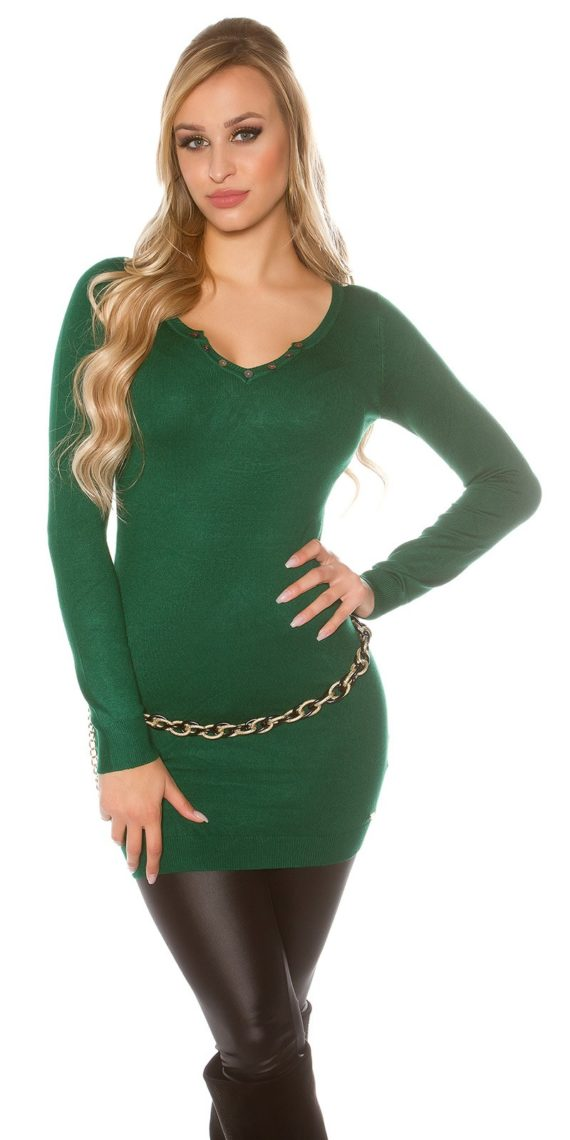 pull long vert logo broderie dos collection koucla