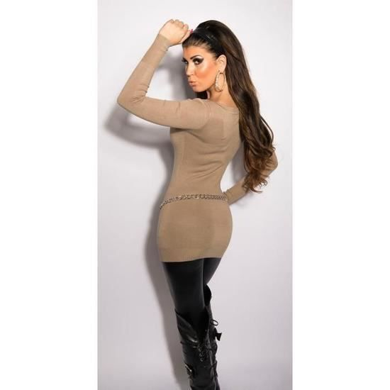 long pull beige sexy fashion femme col rond strass