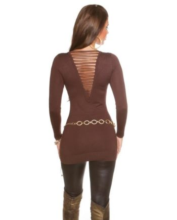pull marron col v rivets lacets dos collection koucla