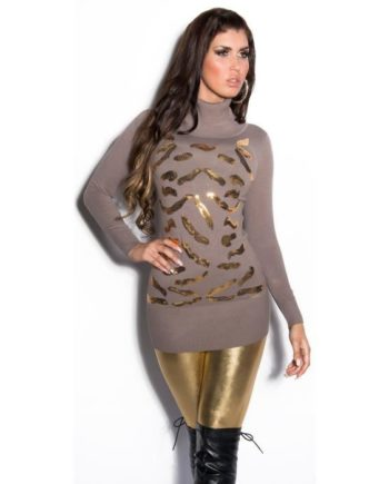 pull-over-court-marron-col-roule-motifs-imprimes-or