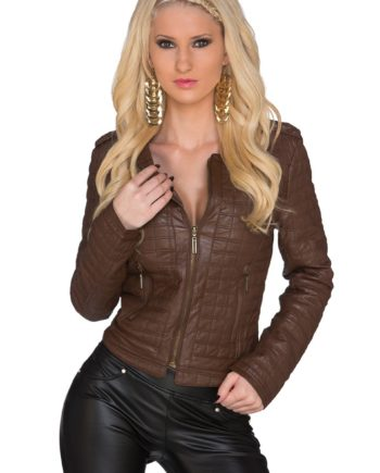 veste blouson marron col en v immitation cuir
