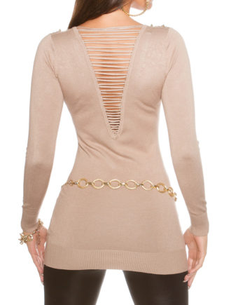 pull beige dos ajourée encolure rivets collection koucla