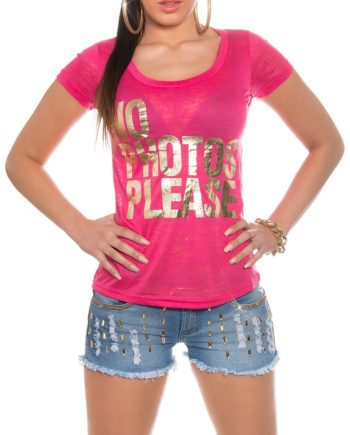 tee shirt col v fuschia motif or