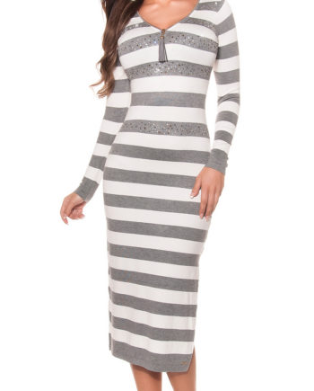 robe longue grise blanche rayures